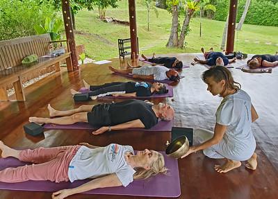 Kundalini Morning Yoga with Anna, Ayurveda, Wellness and Yoga Retreats, Vegetarian, vegan, organic healthy food and drinks at Mangosteen Ayurveda & Wellness Resort, Rawai, Phuket.
