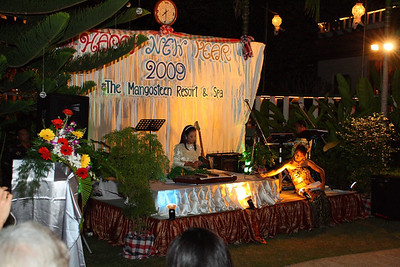"""New Year 2009, party at The Mangosteen Resort & Spa, Phuket.Earth is playing """"Kim""""... kind of Thai Xylophone."""