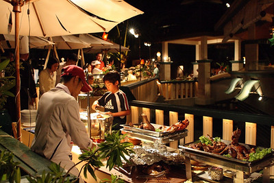 New Year 2009, party at The Mangosteen Resort & Spa, Phuket. The buffet line....