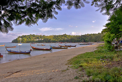 Rawai Beach Longtail Boats HDR