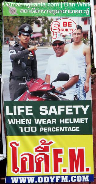 Public Safety poster, Patong Beach. Phuket. Thailand.