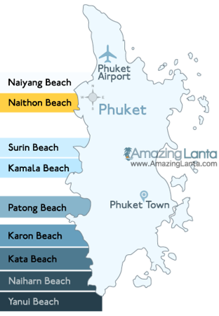 Naithon Beach Phuket Location Map