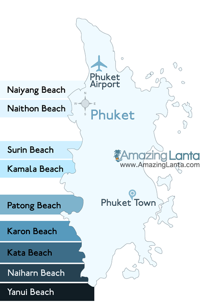 Phuket Beach Location Map