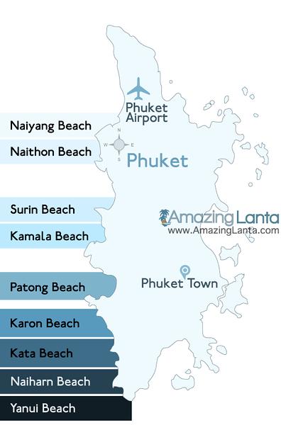 Map of Phuket Beach Locations