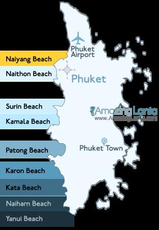 Naiyang Beach Phuket Location Map