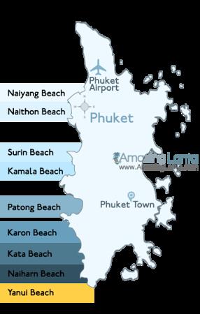 Yenui Beach Phuket Location Map