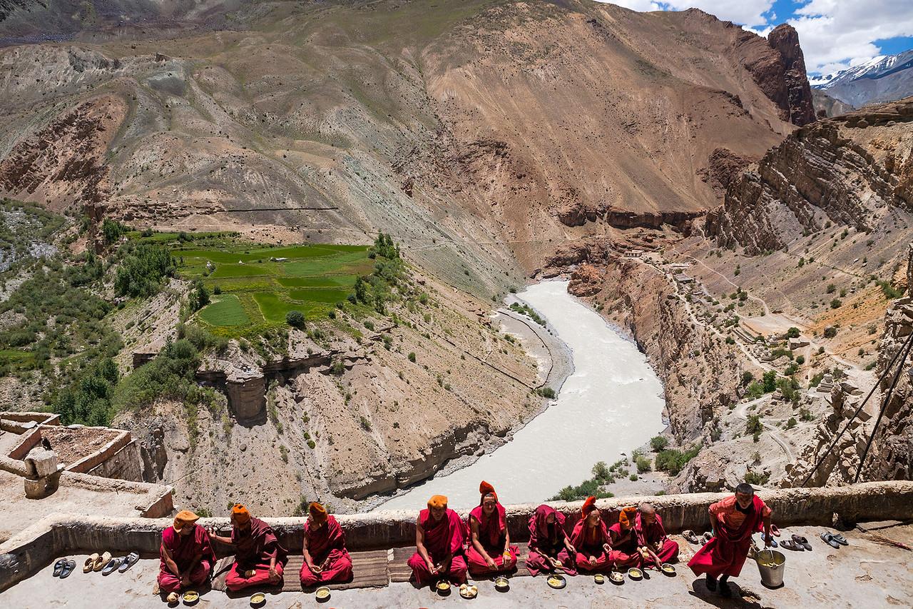 Lunch time at Phuktal  monastery, Zanskar, India