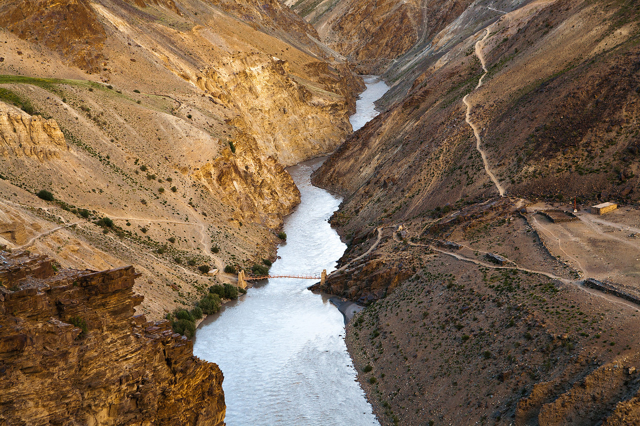 Bridge at Purne en route Phuktal, Zanskar, India