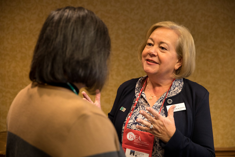 Minneapolis, MN - The PAEA 2016 Education Forum 2016 - Attendees talk during the Candidates Roundtable at the Physician Assistant Education Association Meeting here today, Friday October 14, 2016. Photo by © PAEA/Scott Morgan 2016 Contact Info: todd@medmeetingimages.com Keywords: