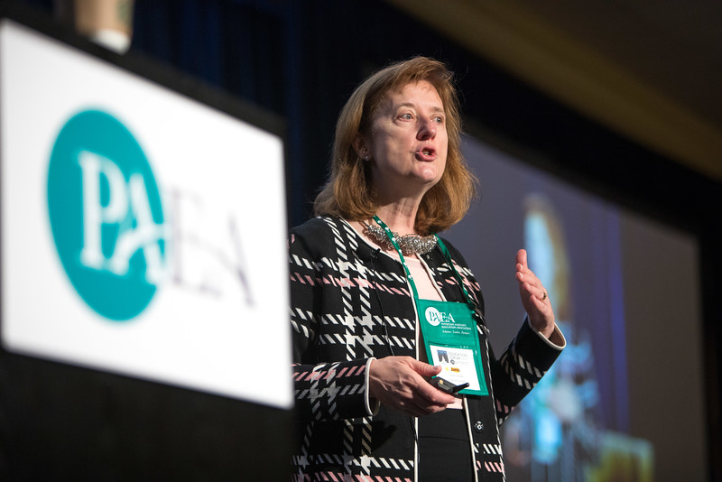 Minneapolis, MN - The PAEA 2016 Education Forum 2016 - Janis Orlowski speaks during the general session at the Physician Assistant Education Association Meeting here today, Friday October 14, 2016. Photo by © PAEA/Scott Morgan 2016 Contact Info: todd@medmeetingimages.com Keywords: