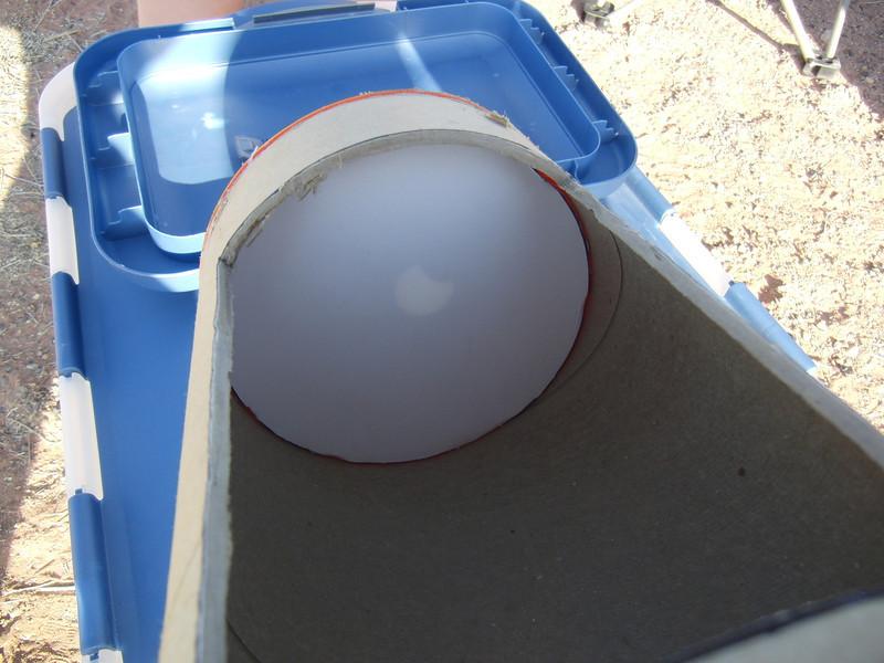 A good view through the peephole of the pinhole camera.