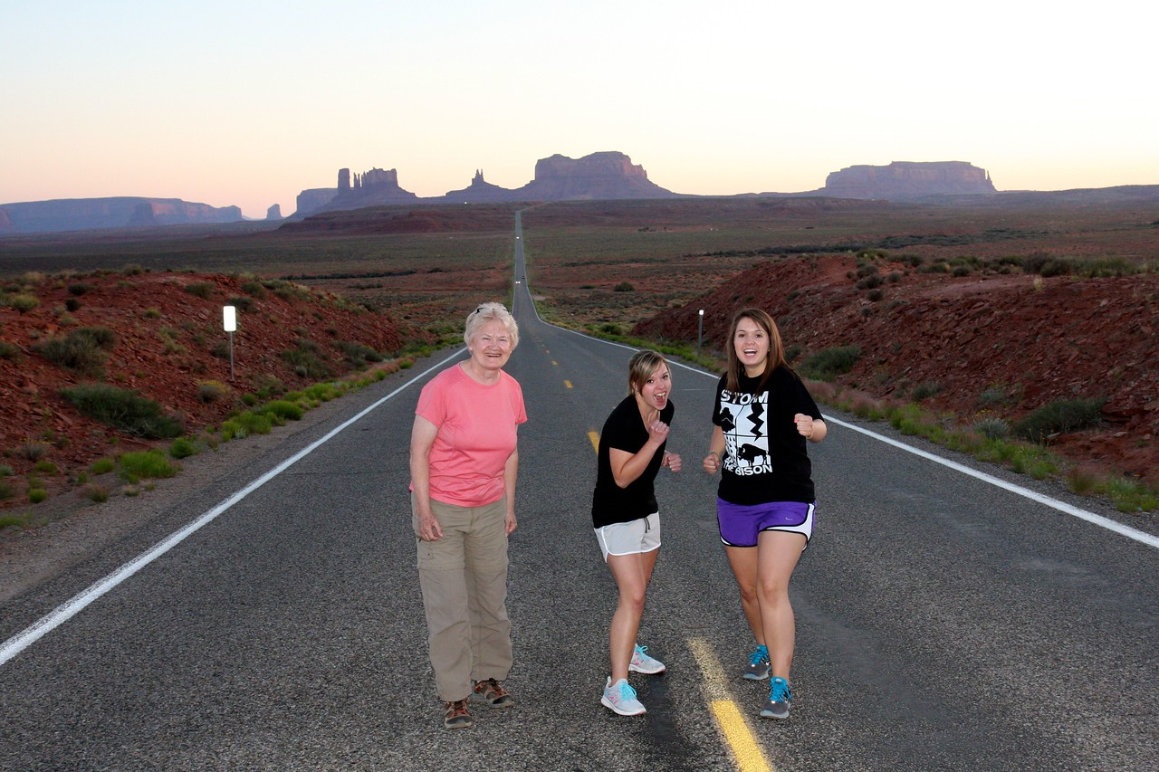 This is the road with the famous scene from Forrest Gump where Forrest decides to stop running.  Monument Valley is in the background.