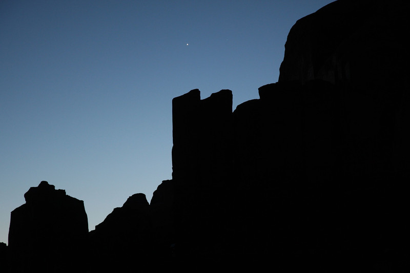Venus hangs over one of the buttes in Monument Valley.