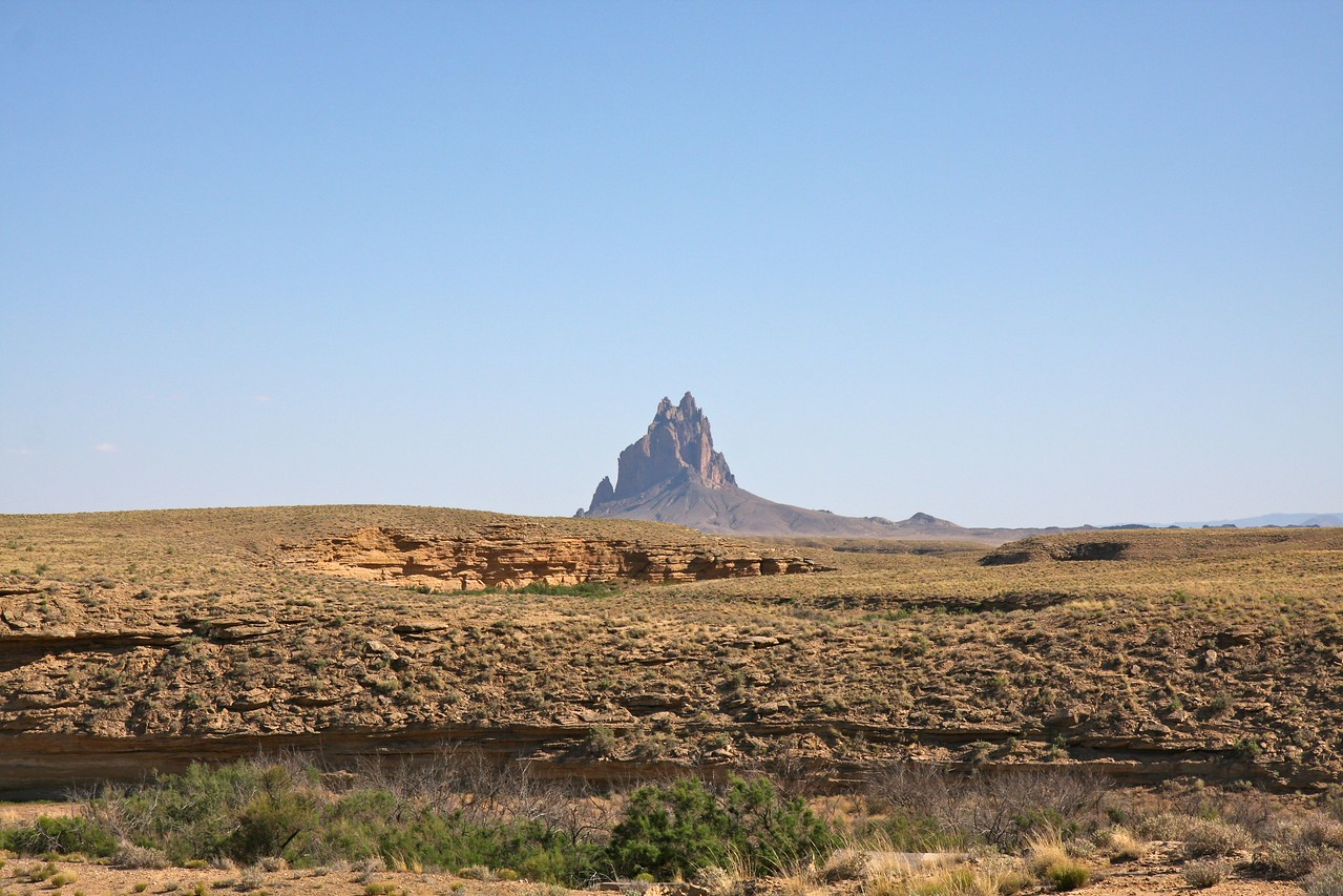 Shiprock from the north side - it looks like a majestic castle in the sky.