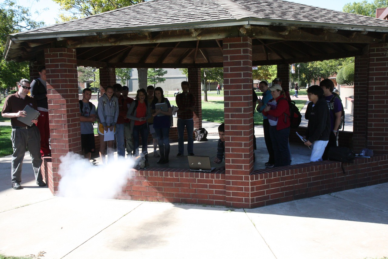 The physics class in 2010 measures the rocket thrust as a function of time as a class demo.