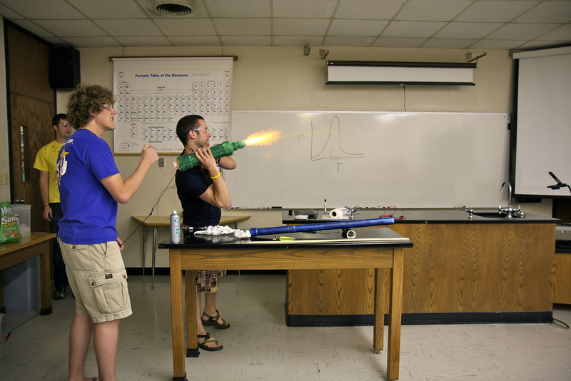 David, JD, and Andrew fire a potato cannon in demonstrating their physics project in G Physics II.
