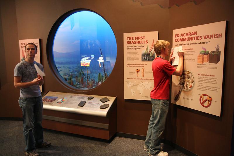 Adam and Kurtis work on their treasure hunt list.