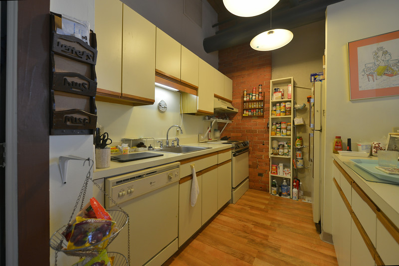 What a practical and fun kitchen.  Notice all the appliances on the left. And right across, just two steps away, my great big food-prep station. I love it.