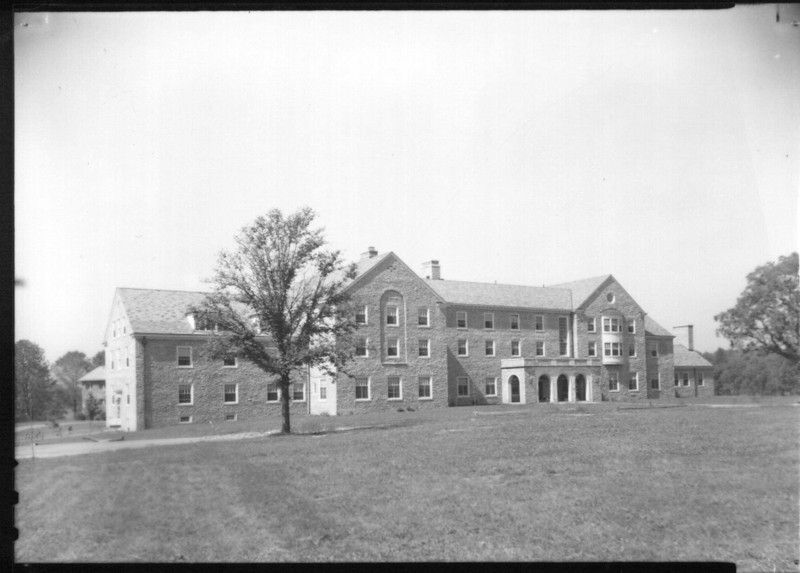 Clawson Hall where my wife and daughter lived while they were in college.  Shown here before anyone lived in it.  Behind it the bad news is that Alexander Dining hall which is attached is being demolished, the good news it is to make way for additional 70 or so beds for Clawson!
