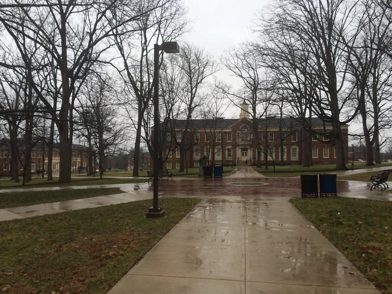 Kreger Hall in the Rain