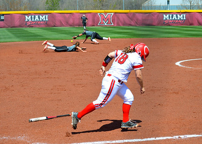 Miami Softball vs. NIU - #18 Remy Edwards Finds a Way Through for a Single
