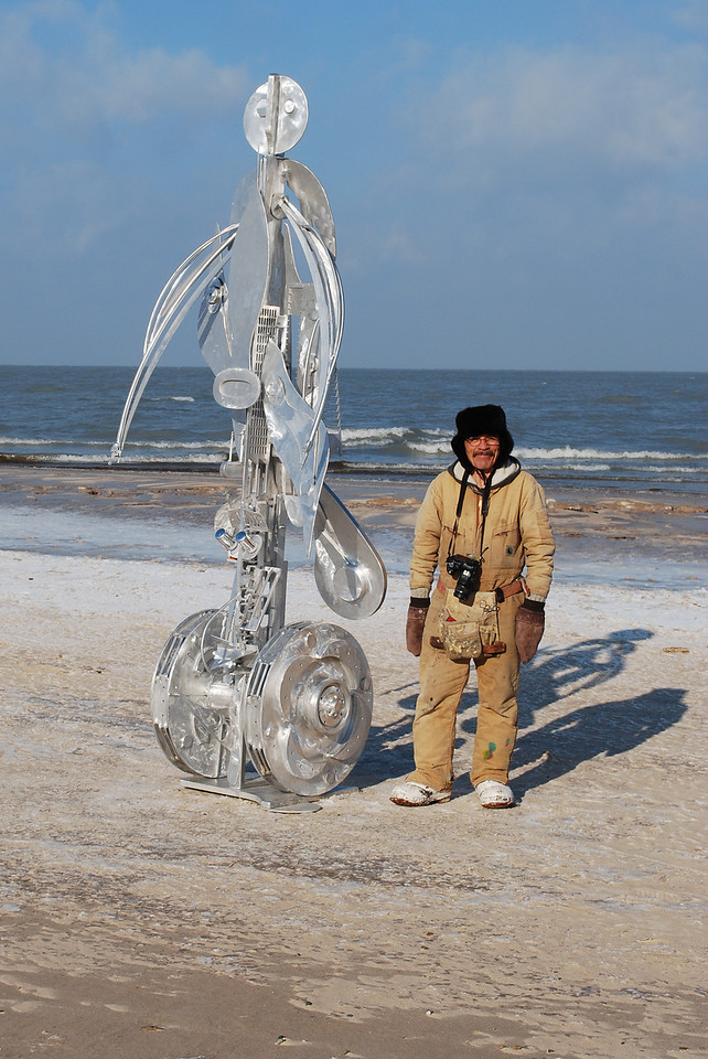 12-18-2010 - I went to the beach this morning and came across an artist who was attempting to erect his sculpture in subzero wind chills. I lent him a hand and and after 45 minutes we were done. Simply amazing from different angles in the sunlight.