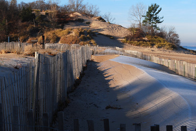 11-12-2009 -  Winter is around the corner, the snow/sand fences are up at the beach.  It is a beautiful morning.   Thank you all for the comments on my dad, he was deeply touched by them.  Best viewed in XL
