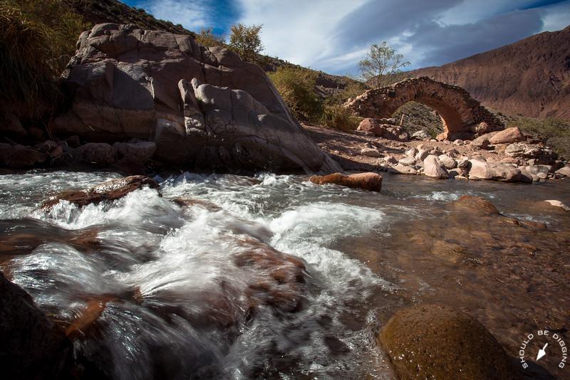 Mountain Stream and the Bridge of Picheuta (Color)