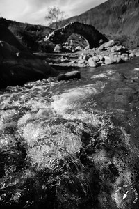Mountain Stream and the Bridge of Picheuta (B/W)