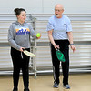 Kids at the Boys and girls club of Fitchburg and Leominster learned about the game of pickleball from some volunteers that love to play. Volunteer Richard Meehan helps Camdin Norton, 12, from Fitchburg with her serve. SENTINEL & ENTERPISE/JOHN LOVE