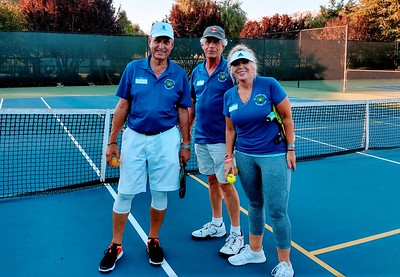 Part of the Pickle-Up Crew - Larry Martinson - VP of Pickleball Club, Mark Gregg, Trish O'Neill - Pickle-Up Organizer
