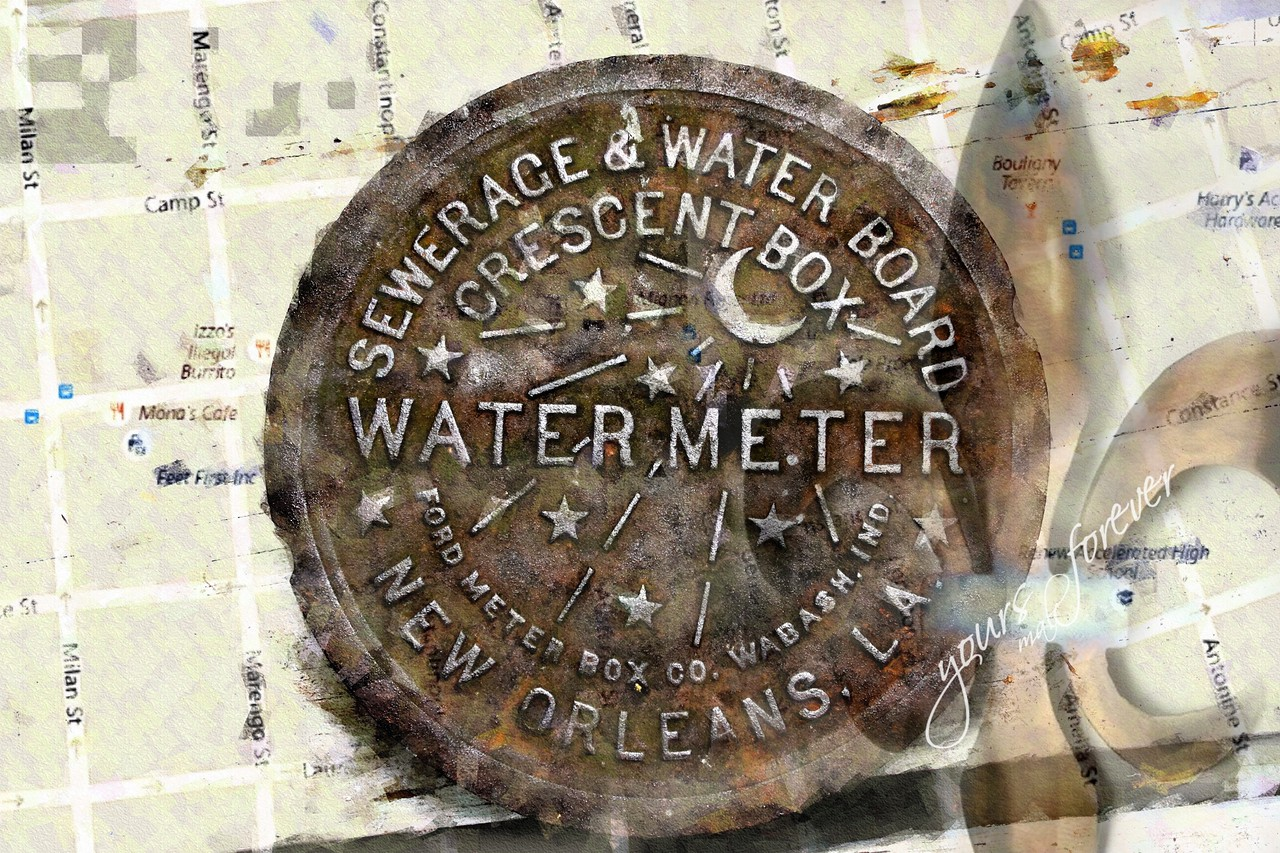 Water meter with NOLA map Camp Street and  surrounding area