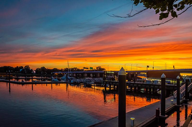 Sunset at Market Square, D.C Wharf. Washington D.C