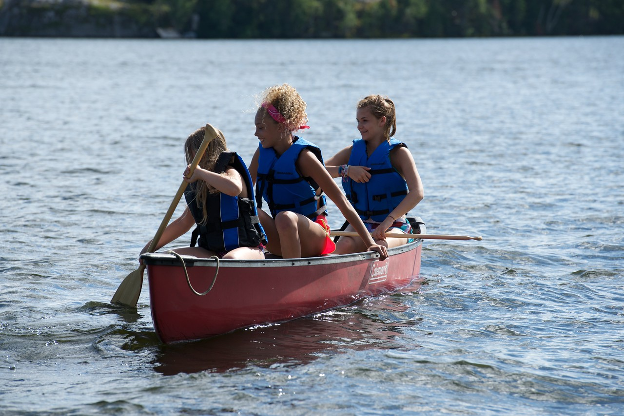 Having fun on the canoe