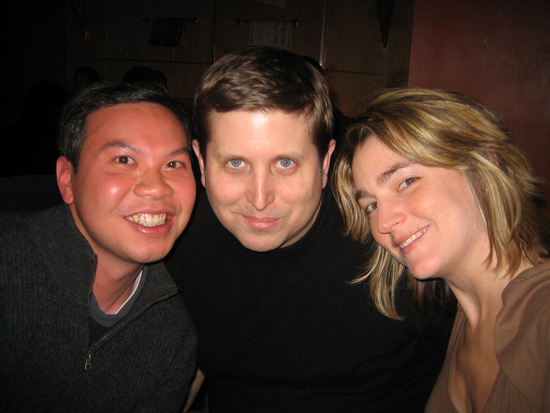"FEBRUARY 8, 2007<br /> <br /> Drinks after work with Sean's co-workers at the lovely Divine Bar West.  Here Sean, Ed and I pose.  Now there is no excuse Ed!  You have to come to the party...you are now a ""Picture of the Day""."