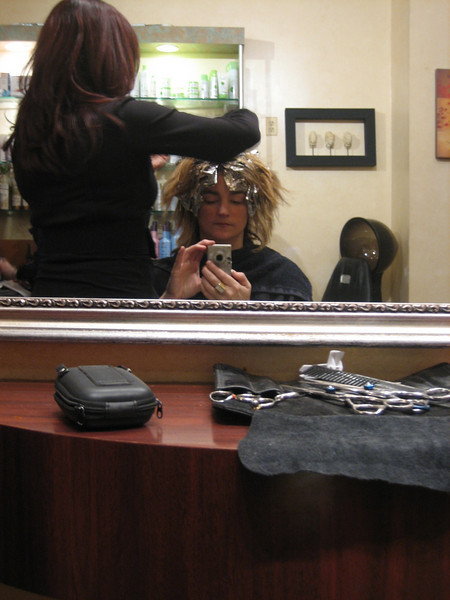 FEBRUARY 15, 2006<br /> <br /> Getting my hair colored with Sally.  I know there is a similar picture from months ago...but I can never resist after seeing myself in the mirror with all the foil!