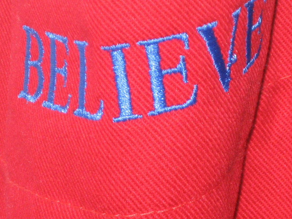 FEBRUARY 20, 2007<br /> <br /> Believe.  This is an apron hanging in my kitchen.  My mom had it made for me for Christmas.  I LOVE it.