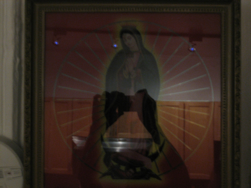 FEBRUARY 16, 2007<br /> <br /> Totally random picture of my Mary light.  You can see me taking a picture in the reflection.