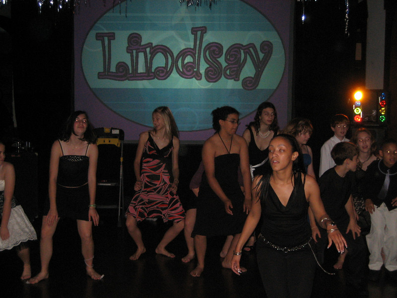 "JUNE 3, 2006<br /> <br /> Groovin' at Lindsay's Bat Mitzvah.  Sean and I headed to Cleveland to celebrate Ivy's daughter Lindsay's ""transformation into womanhood"".  It was a GREAT party.  They had a Summer Camp theme including your own water bottle and yummy smores.  We danced the night away.  Nothing like a group of 13 year olds to get the party started..."