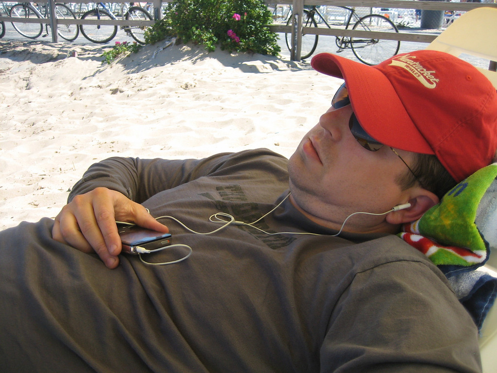 JUNE 26, 2006<br /> <br /> Our first day on the beach at the end of the day.  Sean and ipod.  Asleep.  Nothing better.