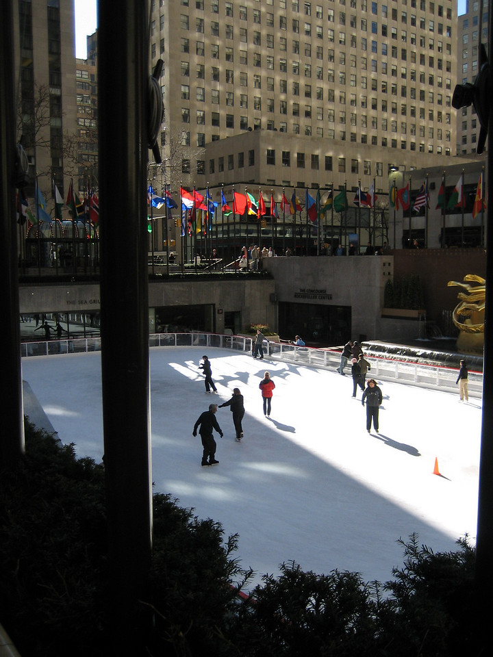 MARCH 7, 2006<br /> <br /> The skaters at Rockefeller Center on a sunny day.  I was just taking a walk at lunch.  Sometimes I forget and don't appreciate where I work and live.  Kind of cool...