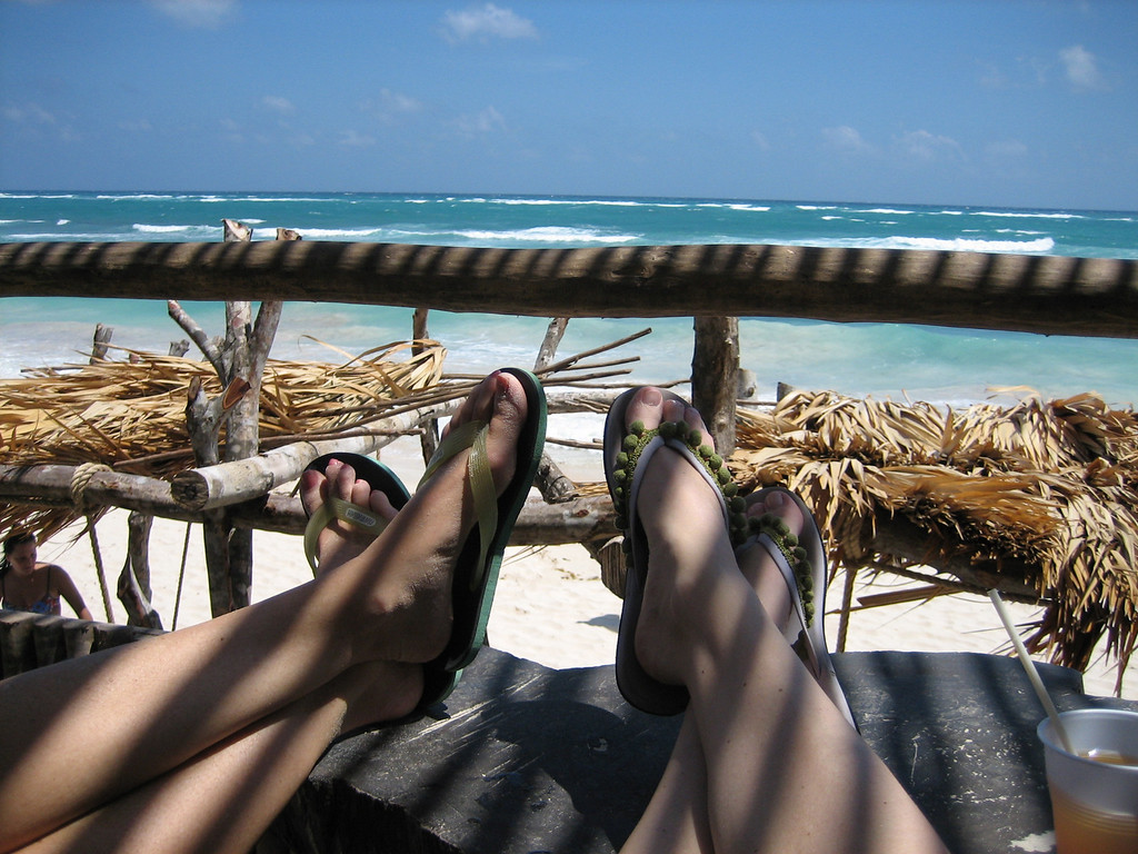 MARCH 20, 2006<br /> <br /> The first morning in Mayan paradise.  This is the view from the bar on the beach.  We had iced tea and guacamole, put our feet up on the table and drank in the view.  The water was just a million shades of blue.