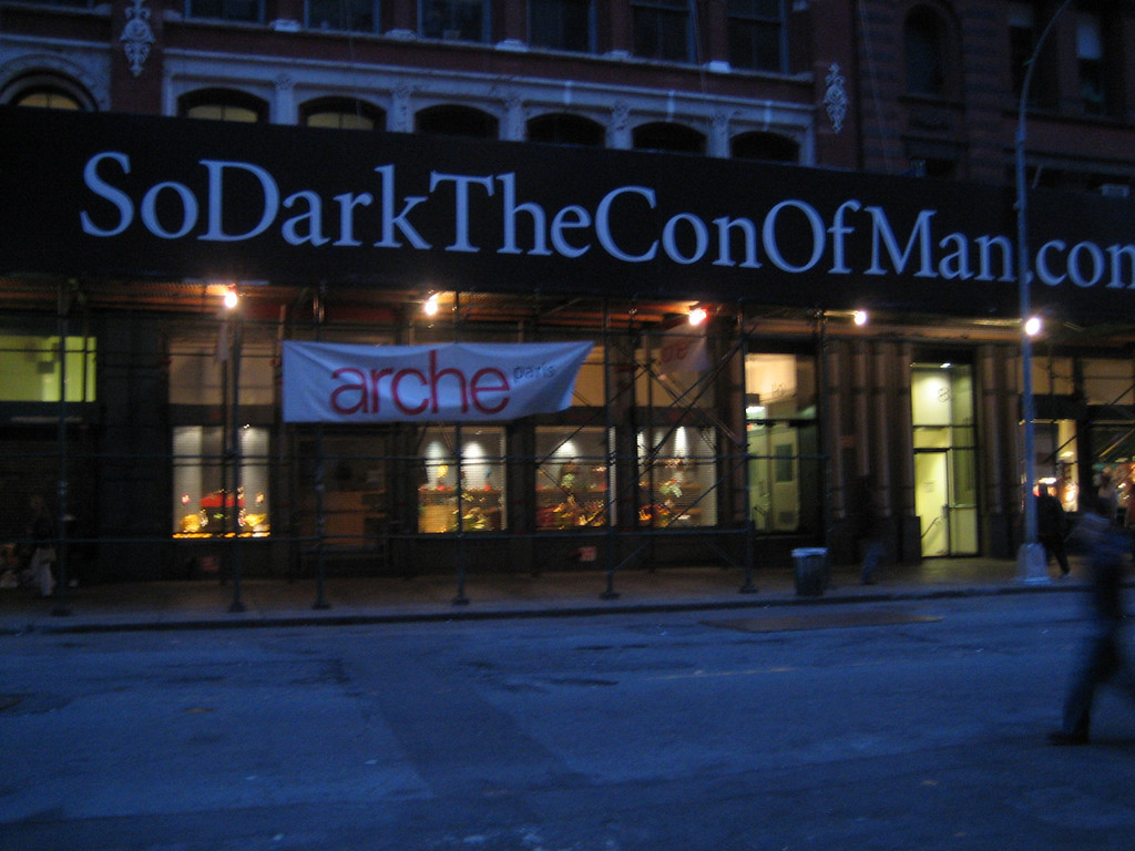 """MAY 20, 2006<br /> <br /> Sean and I saw The DaVinci Code today.  It was mediocre at best and honestly, rather slow.  After the movie, Sean continued to quote his favorite line.  """"So Dark the Con of Man.""""  When we saw the poster on Astor Place, I thought it the appropriate picture of the day."""