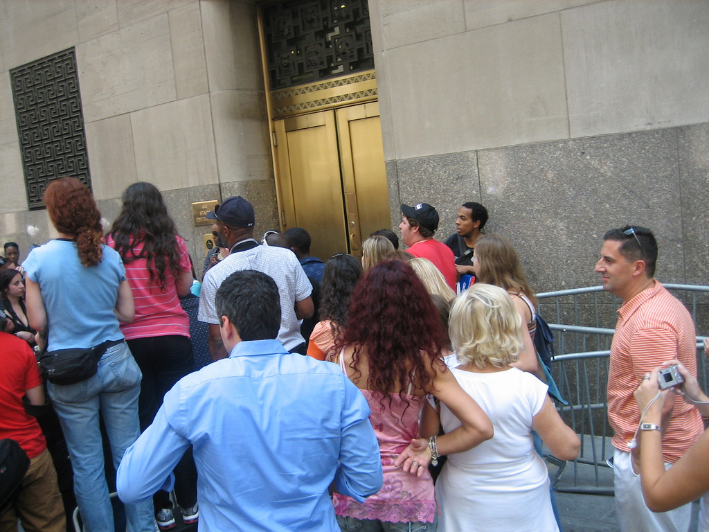 MAY 30, 2006<br /> <br /> Trying to get back to work after lunch.  The crowd around the stage door is waiting to catch a glimpse of Mariah Carey.  Unfortunately for them, she left by the OTHER door.
