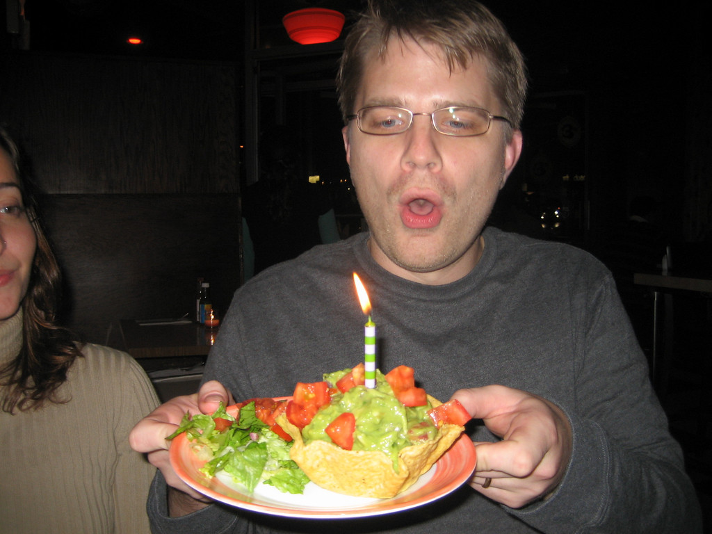 NOVEMBER 12, 2006<br /> <br /> HAPPY BIRTHDAY CUZ!!!!!  Here Adam is blowing out his candle in the guacamole.  We went to one of our fave spots after seeing Borat.  It was a fun night!