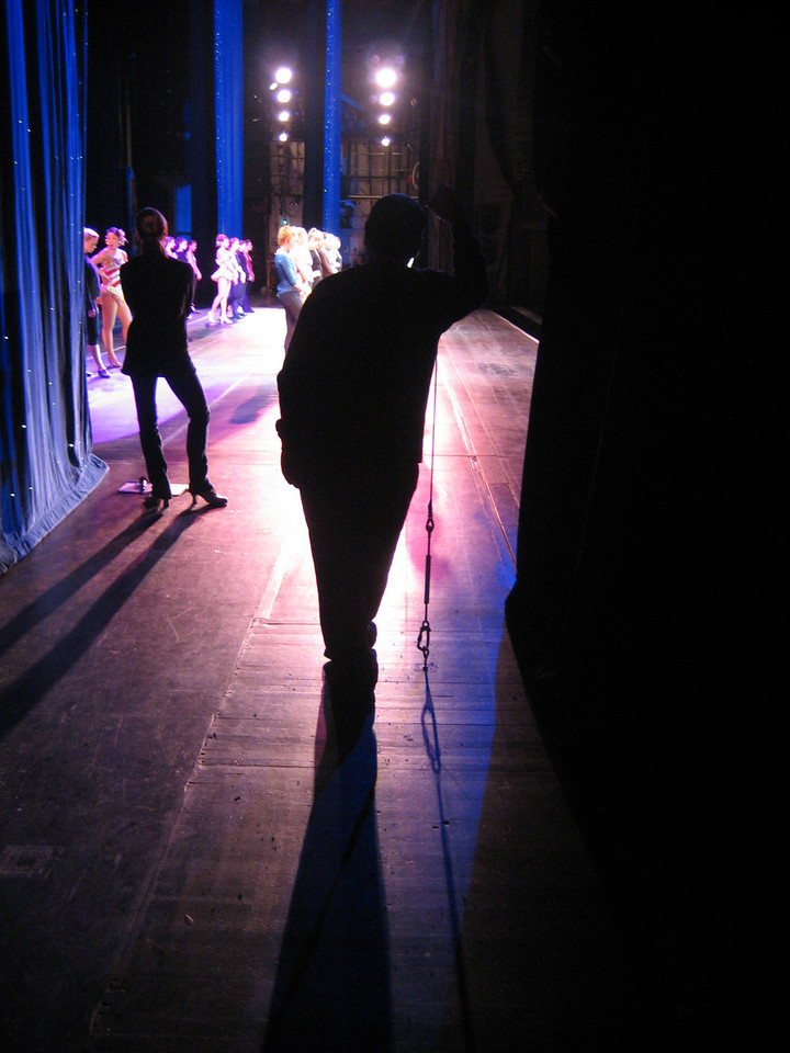 OCTOBER 30, 2006<br /> <br /> A rehearsal onstage on Monday.  I love the silouettes of our Assistant choreographer and stage manager.