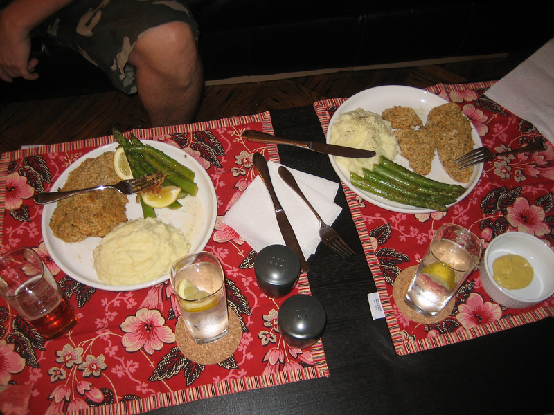 OCTOBER 16, 2006<br /> <br /> (Missed October 15th...)<br /> <br /> Tonight I made us a REAL dinner.  Breaded chicken cutlets, steamed asparagus and mashed potatoes.  Now before you get really impressed, I must admit that the cutlets were pre-breaded and the mashed pots were pre-made.  Thanks FreshDirect!  But hey...I still get SOME credit!