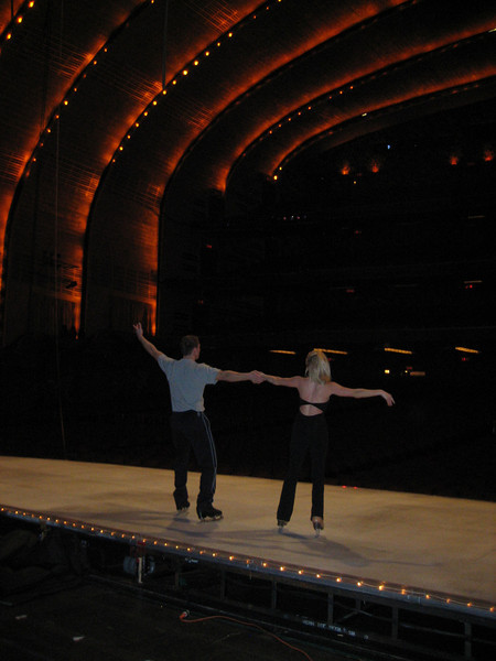OCTOBER 25, 2006<br /> <br /> The skaters practicing in a dark Hall.  I love this pic...you can check out more in the Radio City section.  In order to have ice for 6 shows a day AND inside, we have them skate on plastic ice.  Not many skaters are good enough to do so.