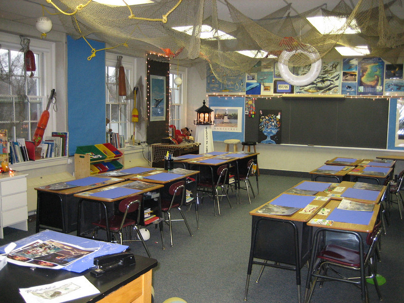 My Mom is an AMAZING 4th grade teacher and this is her classroom.  Right now they are studying whaling before heading off to Mystic, the Cape and Nantucket.  On that trip, only dads are allowed to chaperone and they get to sleep on a real whaling boat.  Totally cool.
