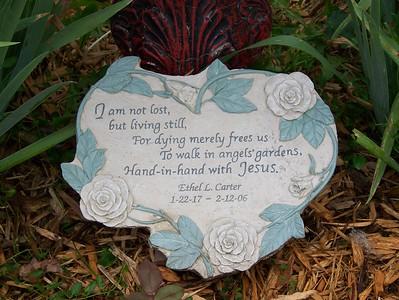 Mom's stone in rose garden - 2007